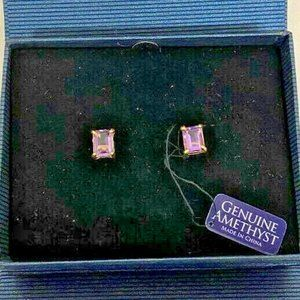 Amethyst Stud Earring Yellow Gold Vermeil NWT